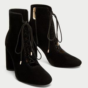 ZARA Lace-Up Velvet High Heel Ankle Boots